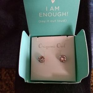 Origami owl silver bezel set earrings